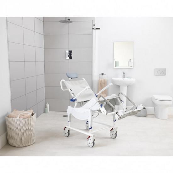 Aquatec ergo tilt-in space shower wheelchair