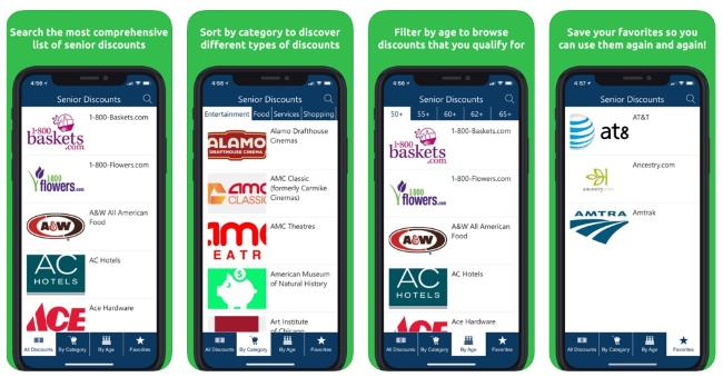 Senior discounts and coupons smartphone app