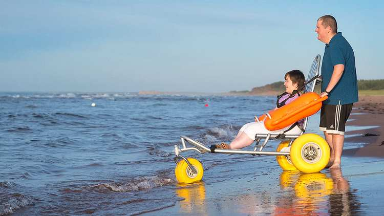 Floating beach wheelchair