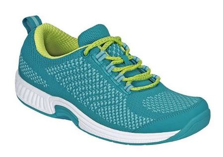 OrthoFeet coral stretch knit shoes in turquoise