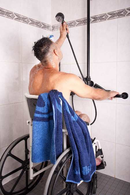 Shower wheelchairs for easier and safer washing